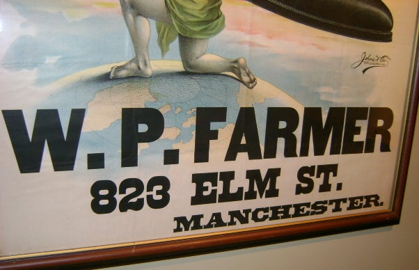 w p farmer manchester nh shoe store advertising poster