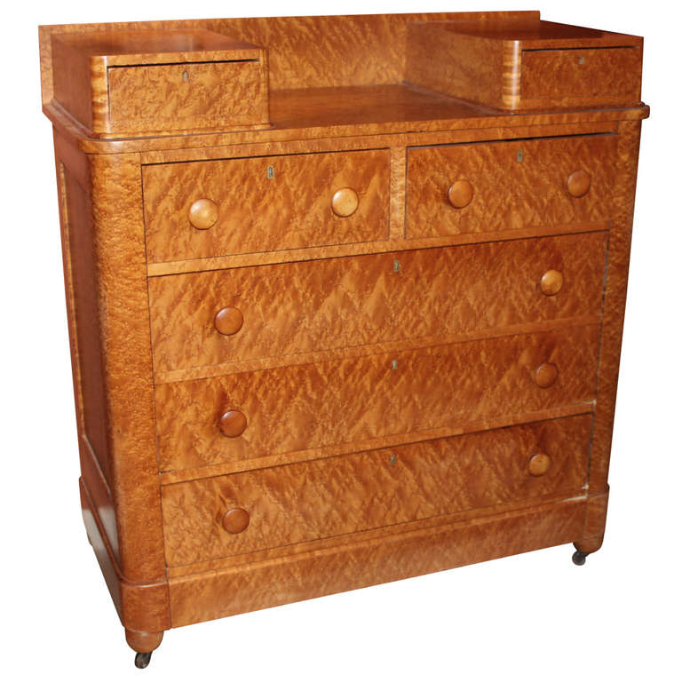 19th C Birdseye Maple Chest Of Drawers With Glove Boxes At 1stdibs