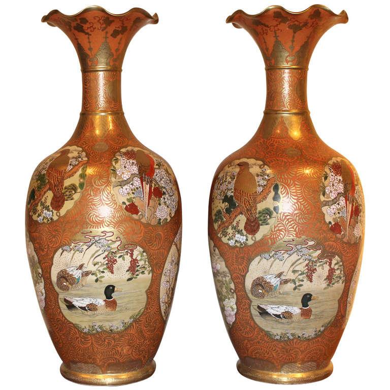 Pair of large orange and gold gilt japanese satsuma vases for Orange vase
