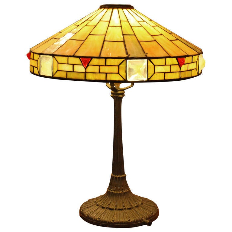 leaded glass arts and crafts lamp with jeweled shade at. Black Bedroom Furniture Sets. Home Design Ideas