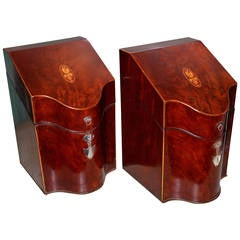 American Hepplewhite Knife Boxes in Mahogany with Silver Mounts
