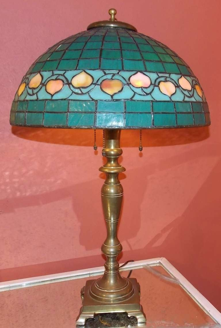hubbell art deco brass lamp with green glass shade for sale at 1stdibs. Black Bedroom Furniture Sets. Home Design Ideas