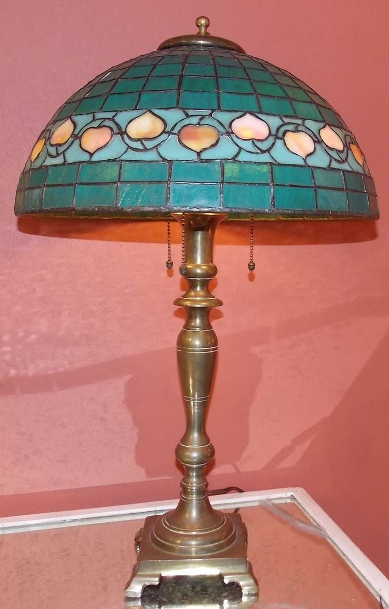Green Lamp Painting : Hubbell art deco brass lamp with green glass shade at stdibs