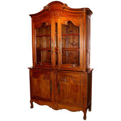 18th Century French Fruitwood Stepback Cupboard