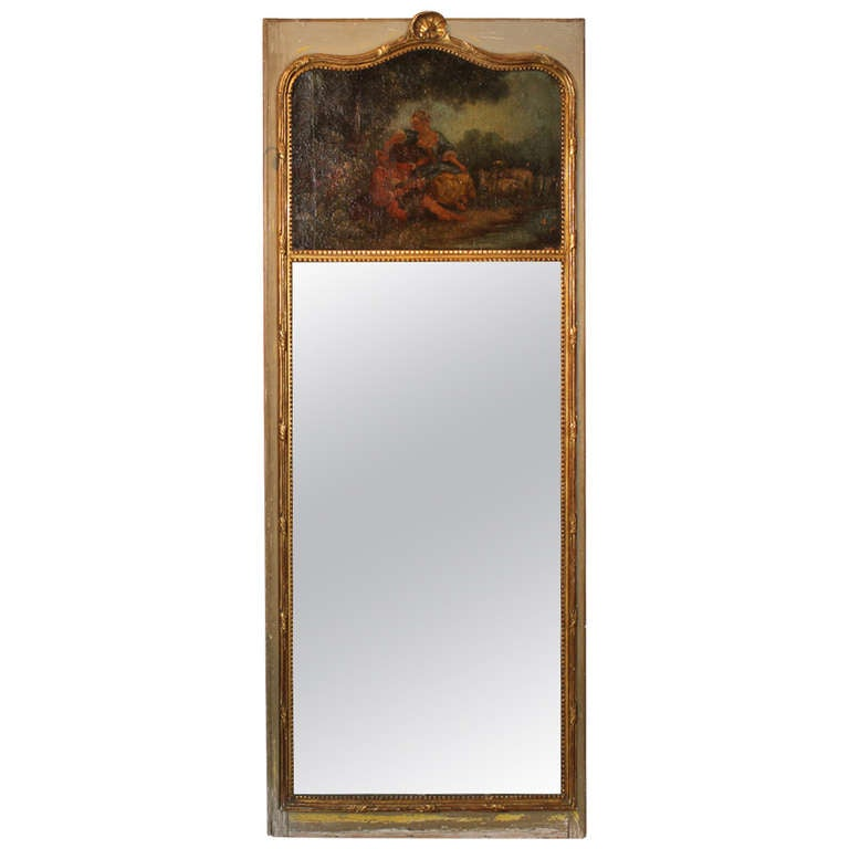 19th Century French Gilt Trumeau Mirror