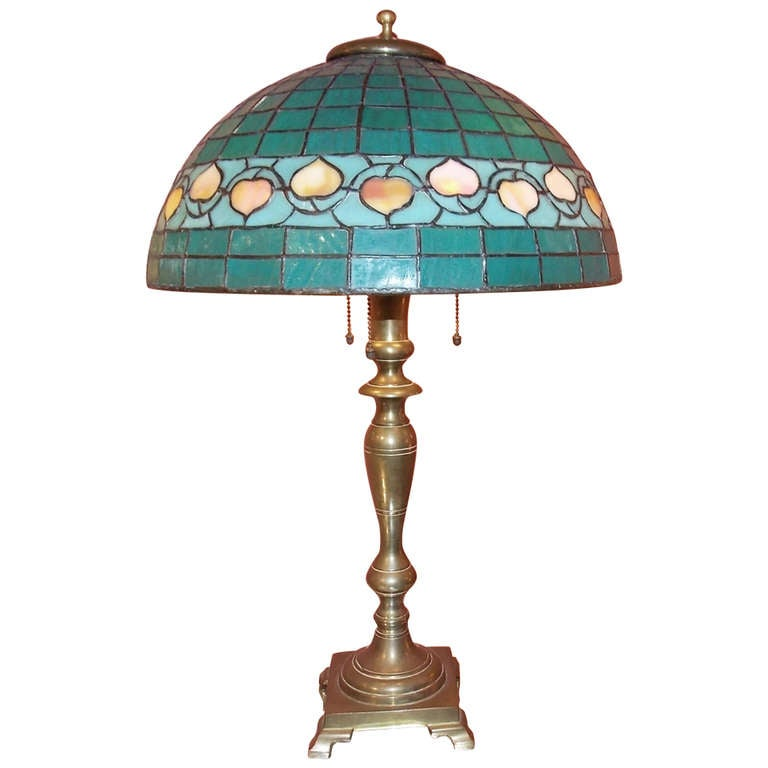 Hubbell Art Deco Brass Lamp With Green Glass Shade At 1stdibs