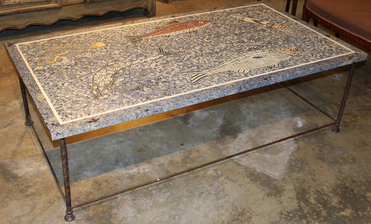 High Quality Large Lapis And Stone Mosaic Coffee Table With Ocean Motif 2