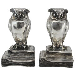 Marcel Andre Bouraine Pair of Nickel Plated Bronze Owl Bookends