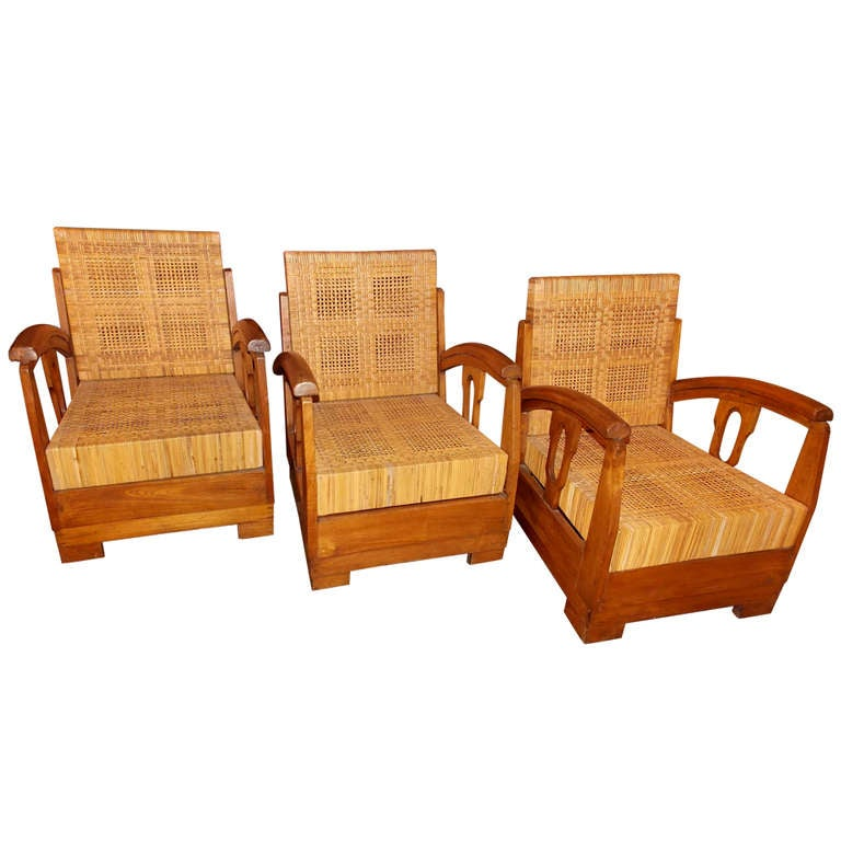 Three 1930s, French Lounge Chairs, in the Style of Francis Jourdain