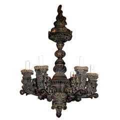 Renaissance Revival Carved Wooden Chandelier