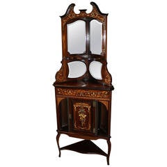 19th Century English Inlaid Rosewood Corner Cupboard with Marquetry
