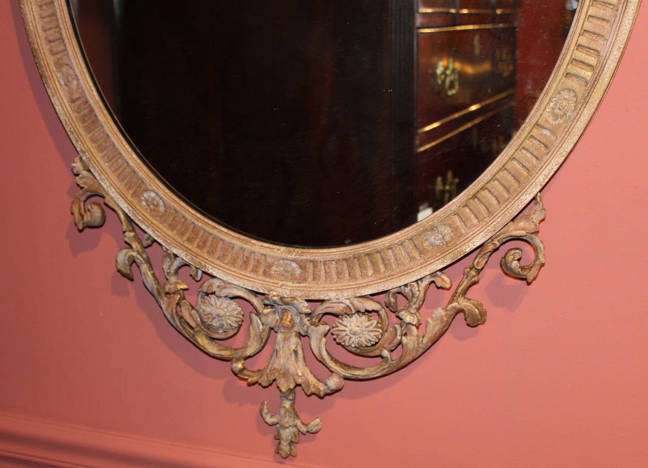 English 19th c Adam Style Carved Oval Mirror For Sale