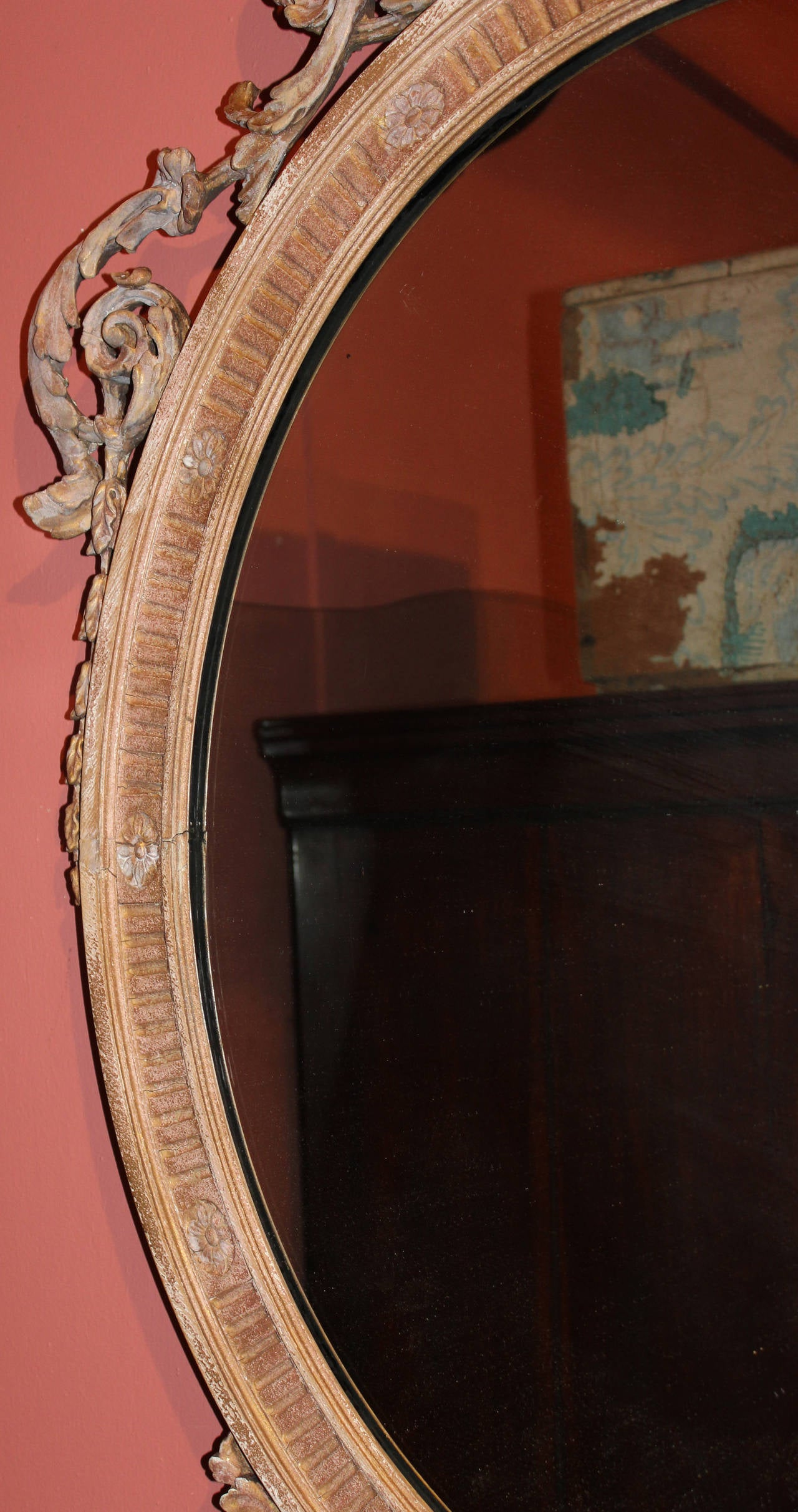 19th Century 19th c Adam Style Carved Oval Mirror For Sale