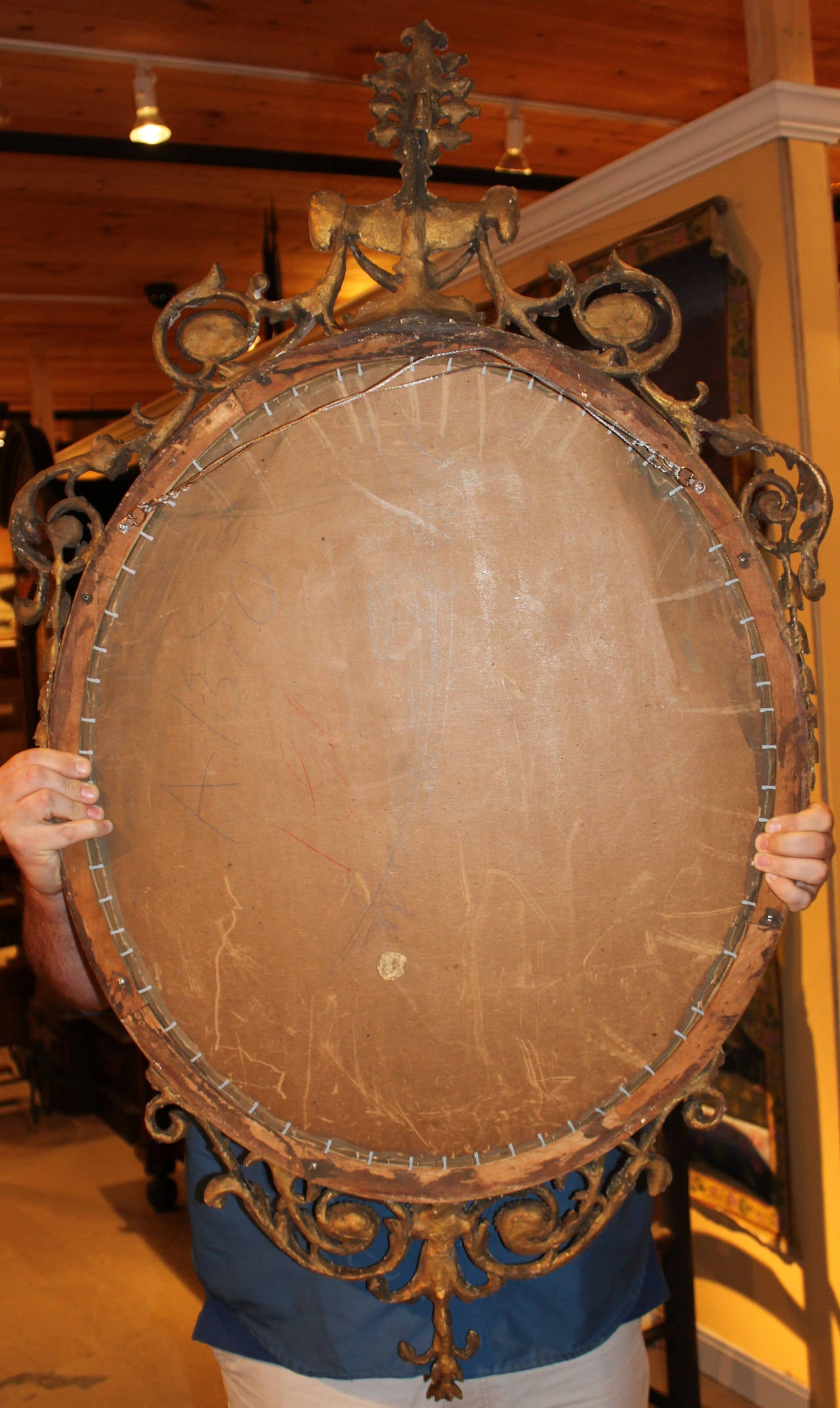 19th c Adam Style Carved Oval Mirror For Sale 3