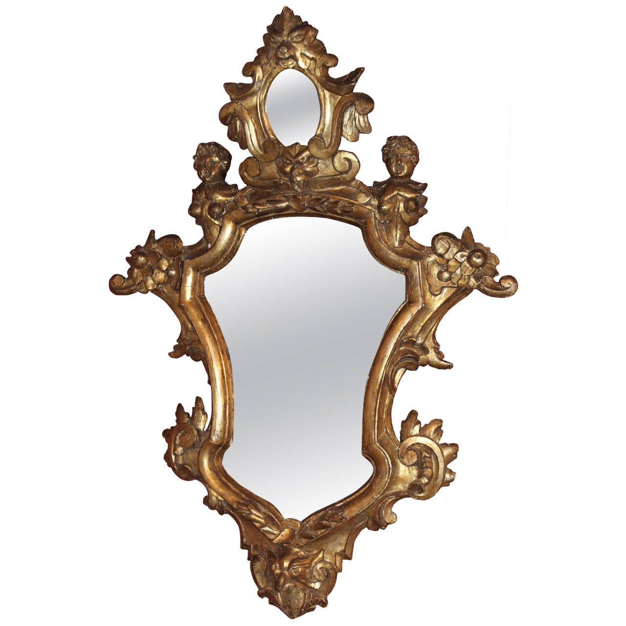 18th c italian carved giltwood baroque mirror at 1stdibs for Small baroque mirror