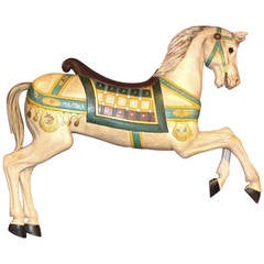 Polychrome Decorated Carousel Prancer Horse attributed to Frederick Heyn