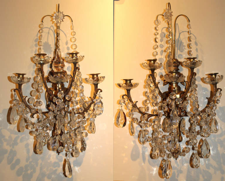 Skyrim Wall Sconces Not Working : Pair of Large Crystal and Bronze Wall Sconces For Sale at 1stdibs