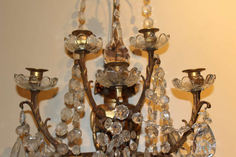 Pair of Large Crystal and Bronze Wall Sconces For Sale at 1stdibs
