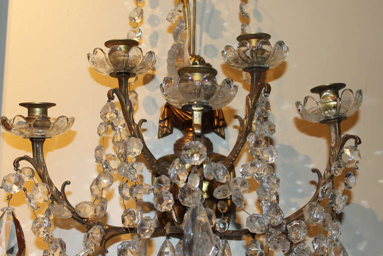 Large Crystal Wall Sconces : Pair of Large Crystal and Bronze Wall Sconces For Sale at 1stdibs