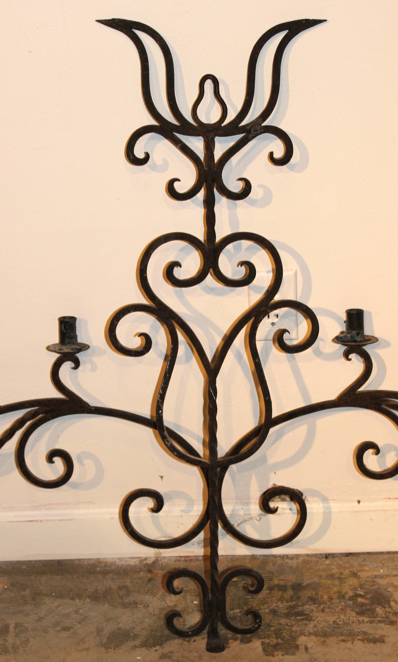 Wall Sconces Wrought Iron : Wrought Iron Eight-Light Wall Sconce at 1stdibs