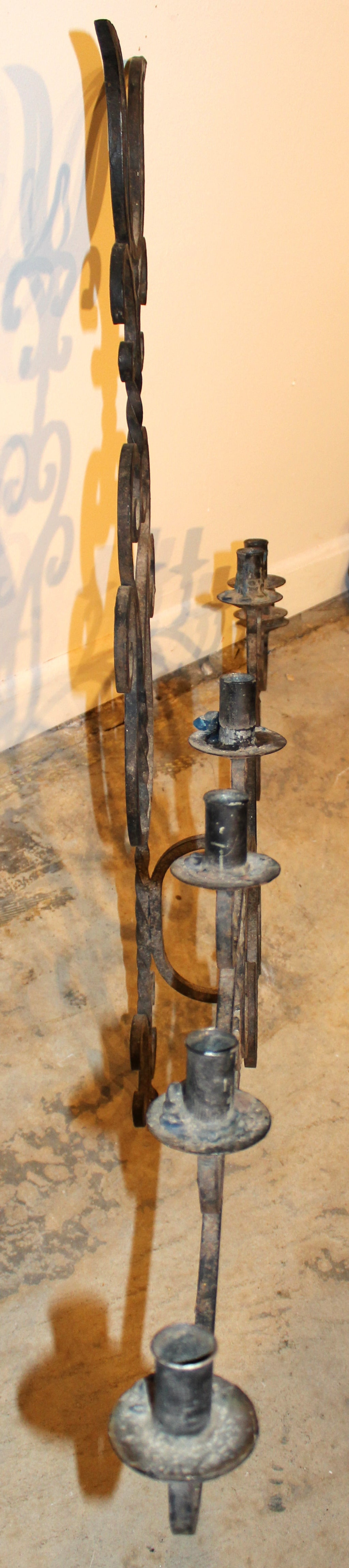 Wrought Iron Eight-Light Wall Sconce at 1stdibs