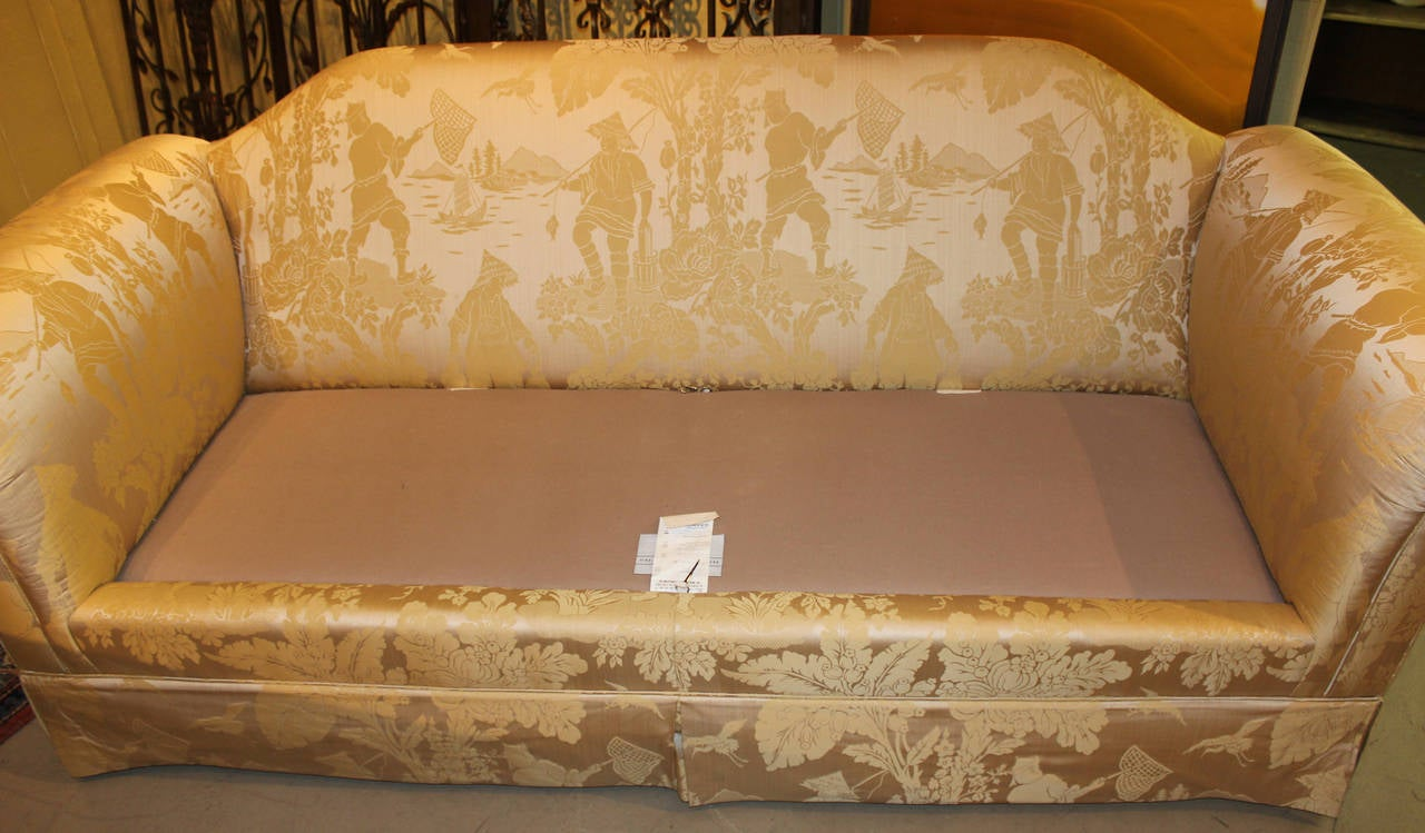 Pair Of Kindel Furniture Chinoiserie Silk Upholstered