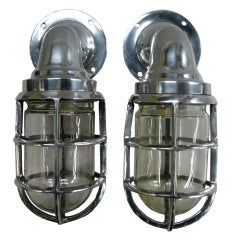 Pair of Vintage Chrome Ship's Companion Lights