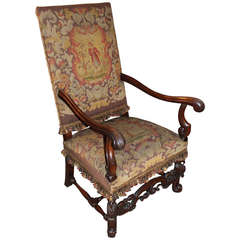 Continental 19th c Arm Chair with Needlepoint Upholstery