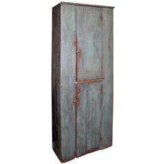 Early 19th Century, Two Door Paneled Pine Cupboard in Blue Paint