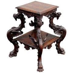 19th Century Continental Carved Tiered Pedestal Table with Dragon Supports
