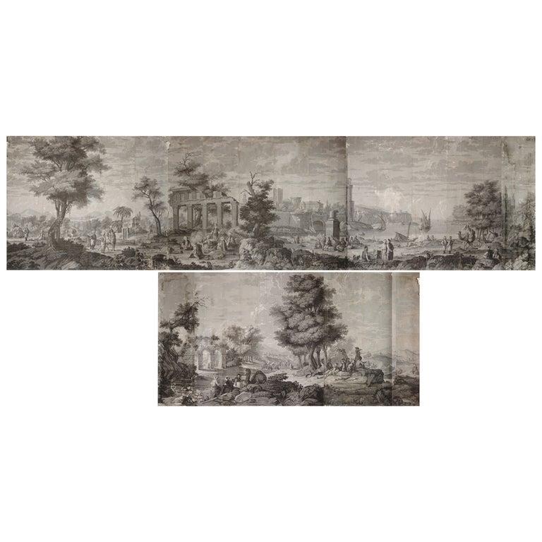 21 Wallpaper Panels, by Joseph Dufour Et Cie, After Comte de Choiseul-Gouffier For Sale