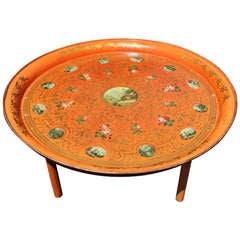 Large tole tray table with decoupage and gilding