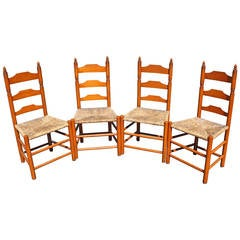 Set of Four Signed Wallace Nutting Ladder-Back Side Chairs