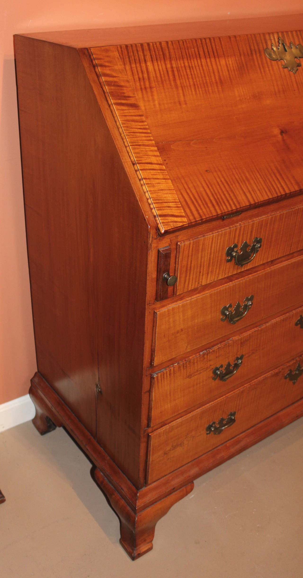 New England Tiger Maple Slant Front Desk Circa 1775 At 1stdibs