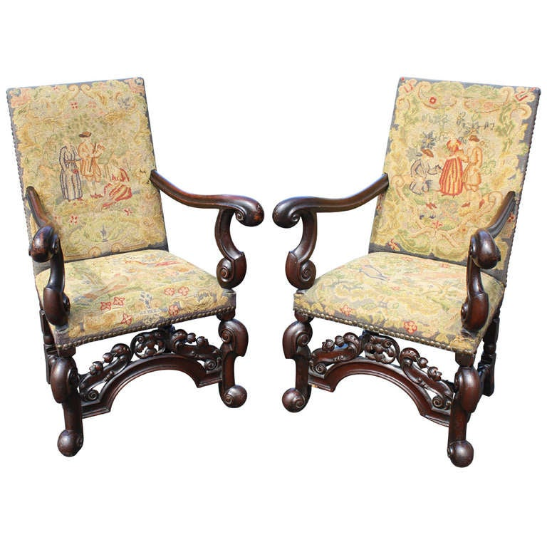Pair Of 19th C William U0026 Mary Style Armchairs 1