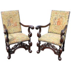 Pair of 19th c William & Mary Style Armchairs