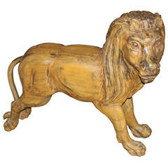 Carved Wooden Polychrome Carousel Standing Lion Figure