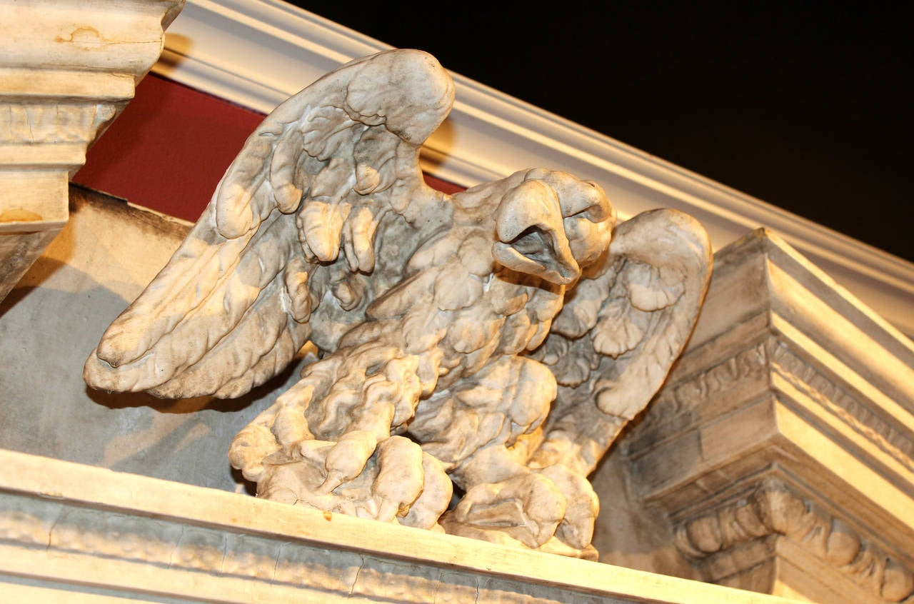 Architectural Wood Pediment : Wood and gesso architectural pediment with eagle newport