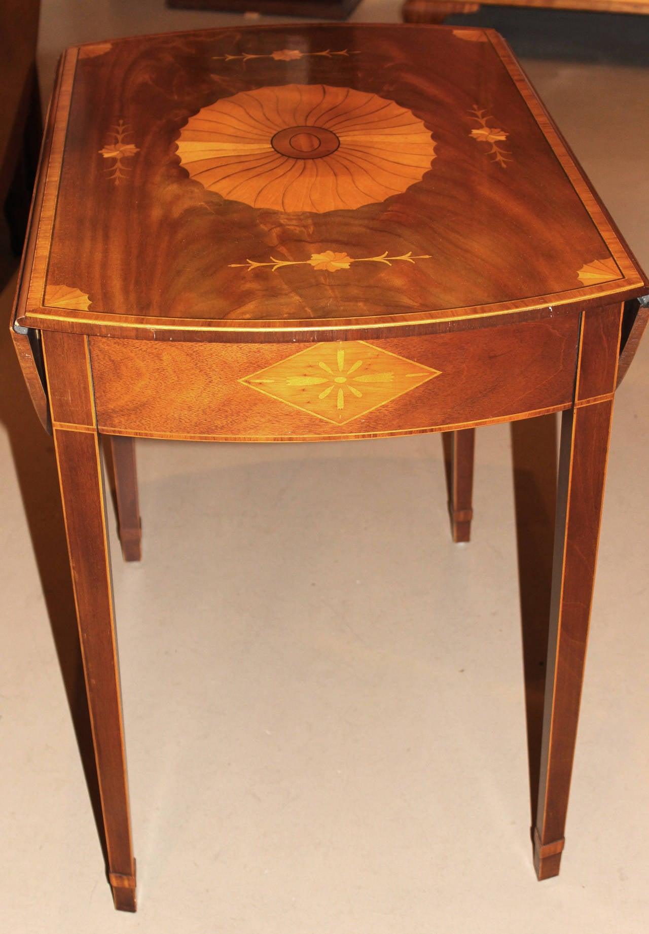 Antique Drop Leaf Table >> Baker Furniture Inlaid Pembroke Table at 1stdibs
