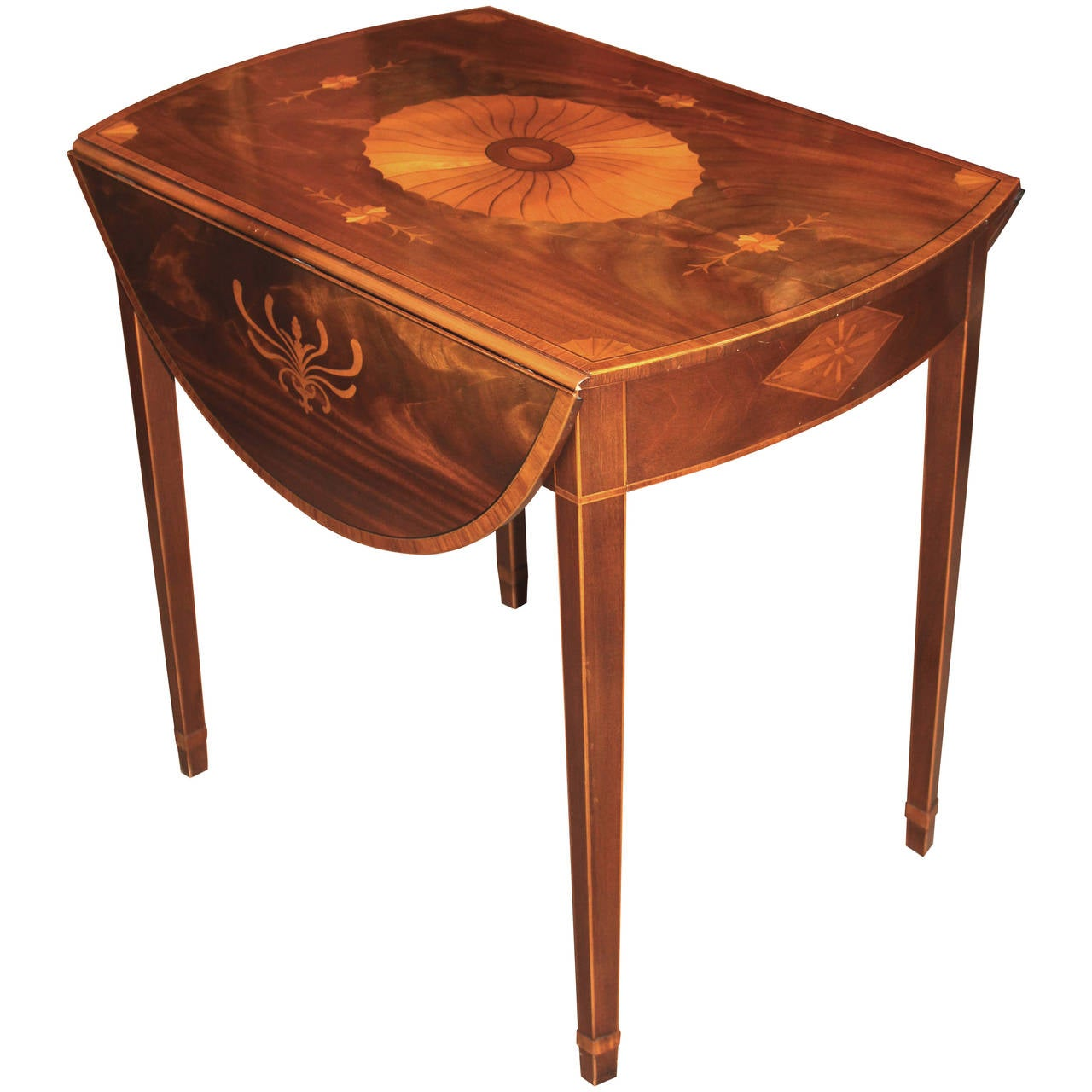 Baker Furniture Inlaid Pembroke Table at 1stdibs
