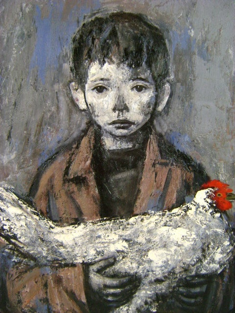 Xavier Bueno Oil Painting Portrait of a Boy with Chicken 3