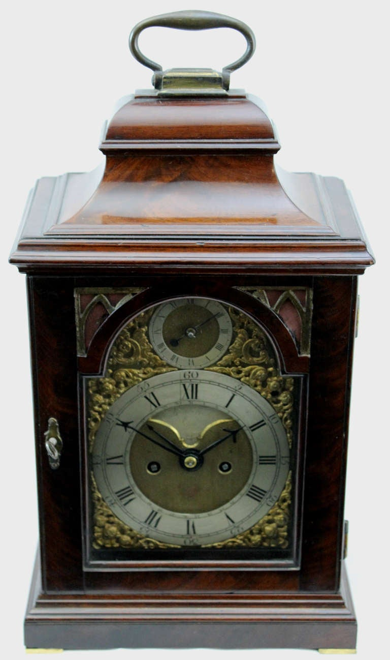 18th c English Edward Foster Mahogany Table or Bracket Clock In Excellent Condition For Sale In Milford, NH
