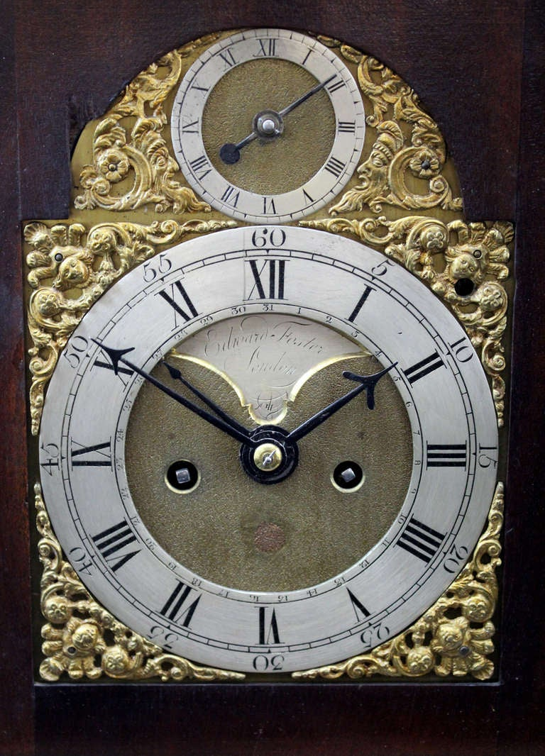 18th Century and Earlier 18th c English Edward Foster Mahogany Table or Bracket Clock For Sale