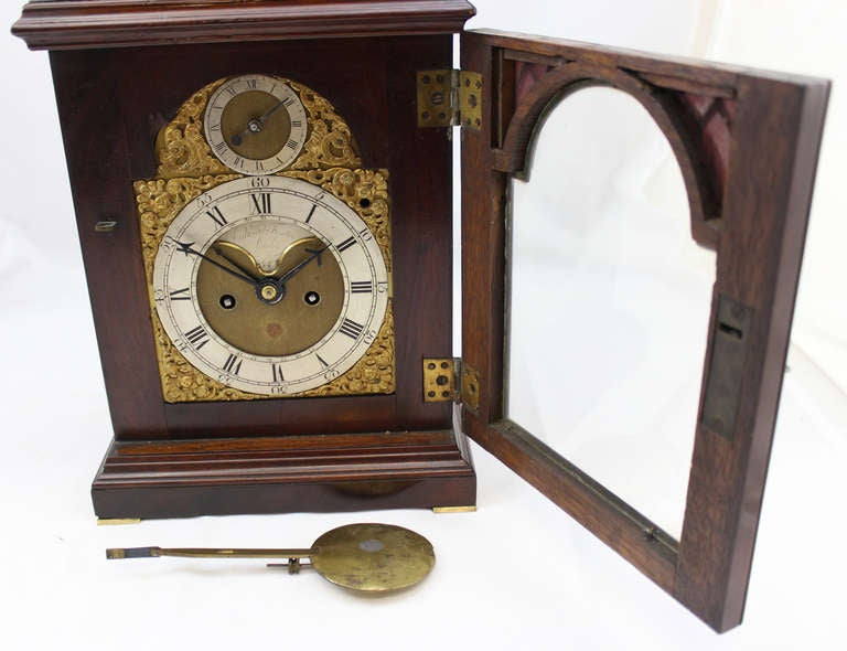 18th c English Edward Foster Mahogany Table or Bracket Clock For Sale 2