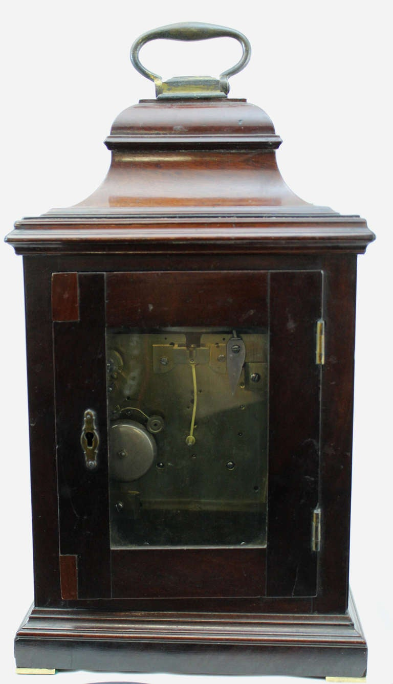 18th c English Edward Foster Mahogany Table or Bracket Clock For Sale 3