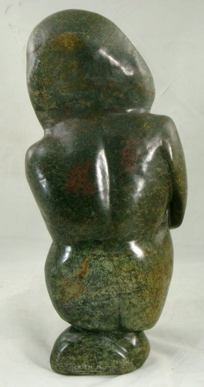 African carved stone figural rock sculpture inscribed