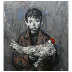 Xavier Bueno Oil Painting Portrait of a Boy with Chicken