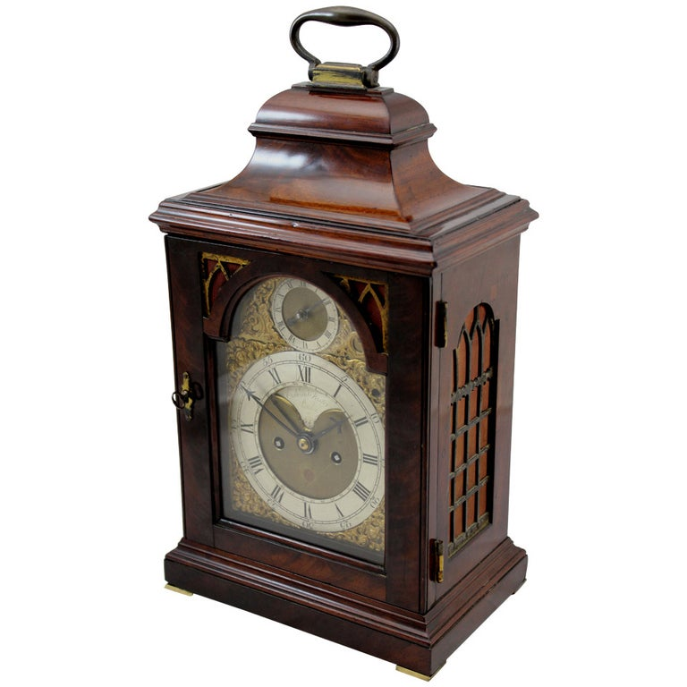 18th c English Edward Foster Mahogany Table or Bracket Clock For Sale
