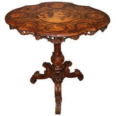 German Black Forest Burled Walnut Carved and Inlaid Tilt Top Table