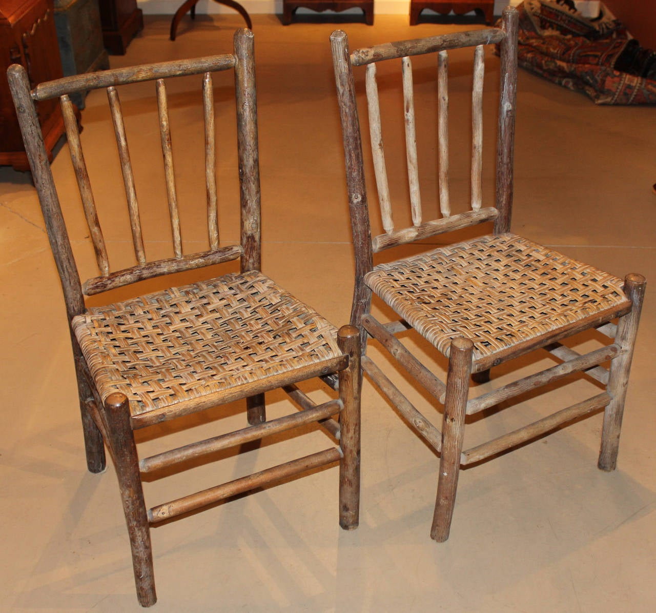 pair of signed old hickory side chairs with splint woven seats 2 - Old Hickory Furniture
